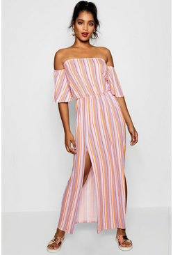 Womens Off The Shoulder Striped Split Maxi Dress