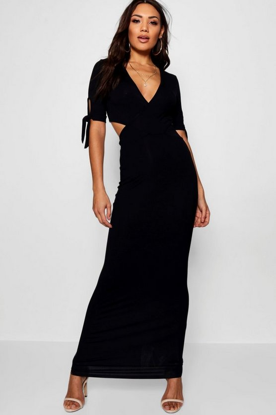 Womens Black Carmen Wrap Front Tie Sleeve Maxi Dress