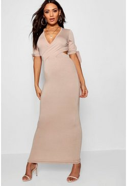 Womens Sand Carmen Wrap Front Tie Sleeve Maxi Dress