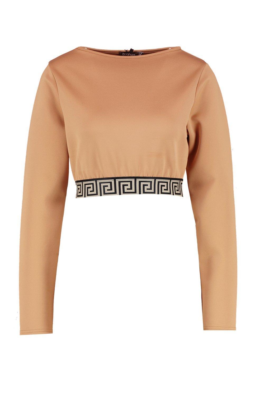 Suéter con camel corto adorno deportivo qqzgrwxRan