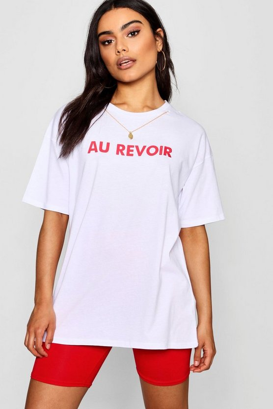 French Slogan Necklace Trim T-Shirt