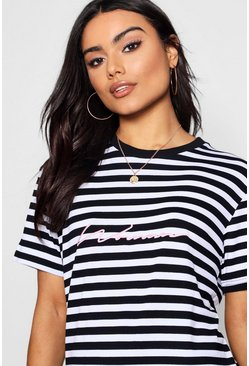 Pink Woman Embroidered Stripe Tee