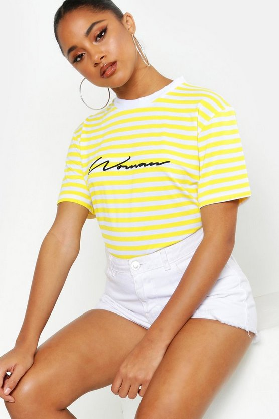 Womens Yellow Woman Embroidered Stripe Tee