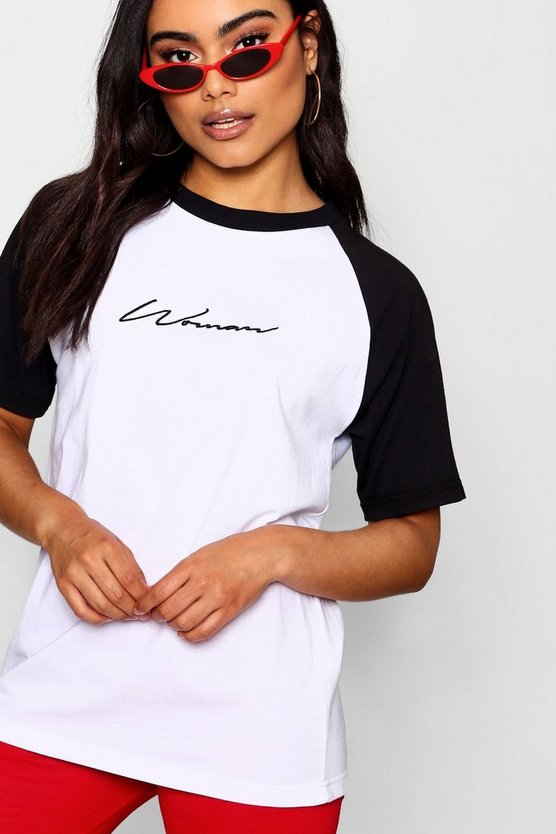 Woman Embroidered Raglan Tee