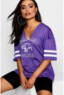 Womens Purple Melody Oversized Tee
