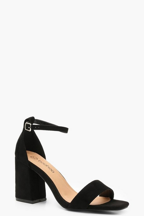 Black Wide Fit Square Toe Two Part Block Heels