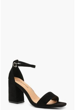Black Extra Wide Fit Square Toe Block Heels