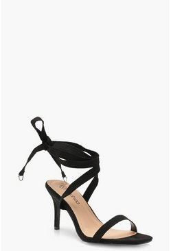 Womens Black Wide Fit Wrap Strap Two Part Heels
