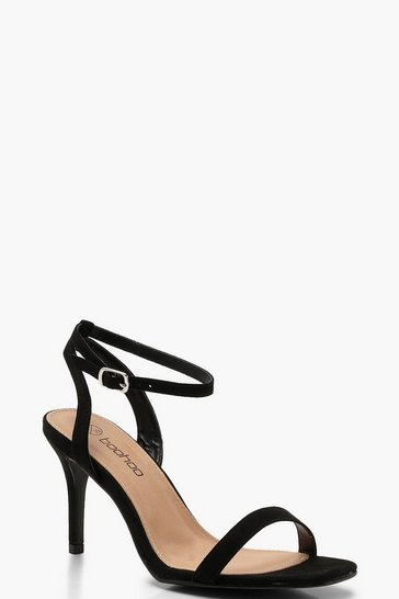 Womens Black Wide Fit Square Toe Two Part Heels