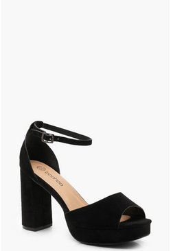 Womens Black Wide Fit Peeptoe Platform Heels