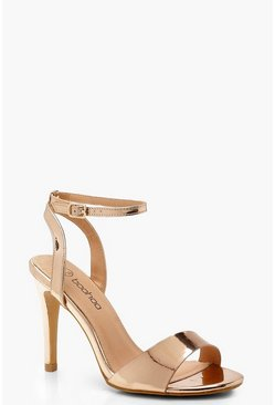 Womens Rose gold Wide Fit 2 Part Side Panel Heels