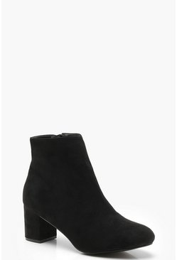 Dam Black Wide Fit Block Heel Shoe Boots