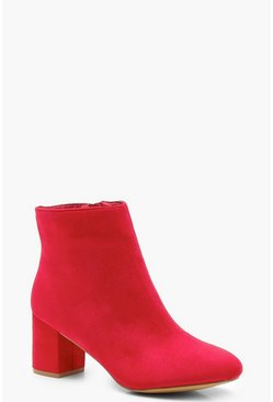 Womens Red Extra Wide Fit Block Heel Shoe Boots