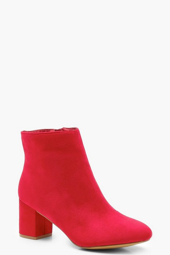 Extra Wide Fit Block Heel Shoe Boots