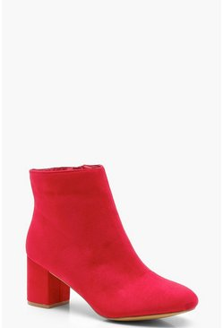 Womens Red Wide Fit Block Heel Shoe Boots
