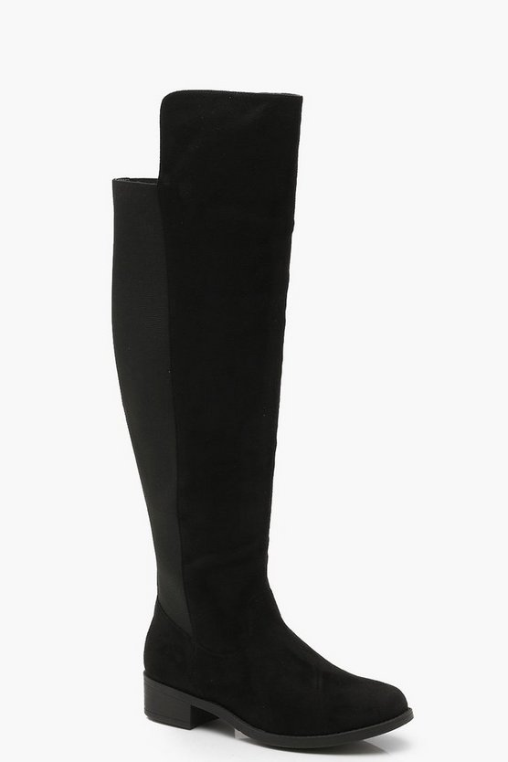 Black Wide Fit Elastic Back Flat Knee High Boots