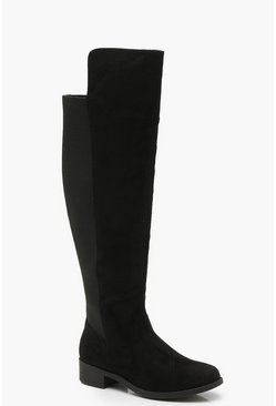 Womens Black Wide Fit Elastic Back Flat Knee High Boots