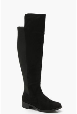 Black Extra Wide Fit Elastic Back Flat Over The Knee Boots