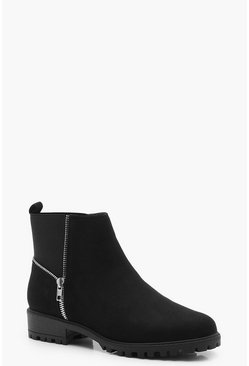 Womens Black Zip Trim Gusset Chelsea Boots