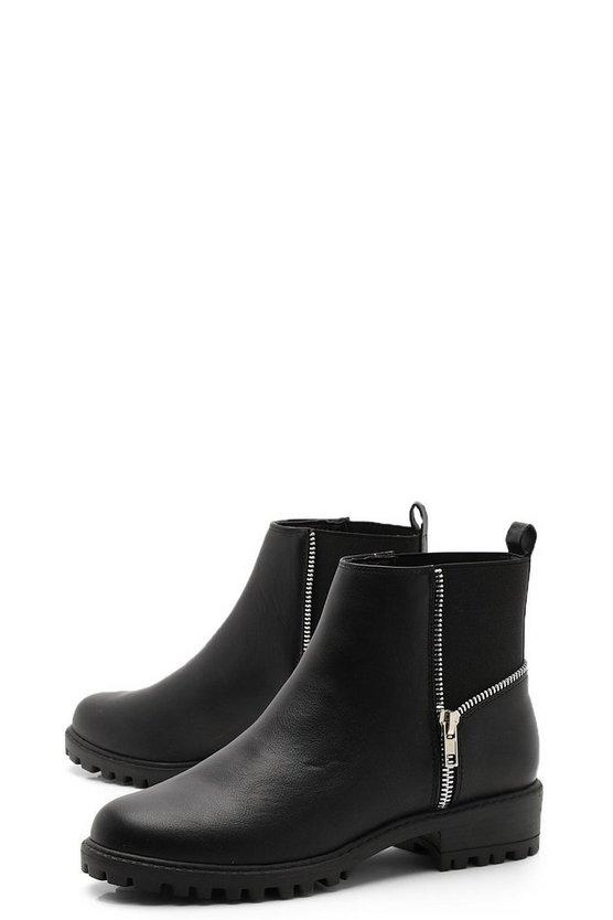 Zip Trim Gusset Chelsea Boots
