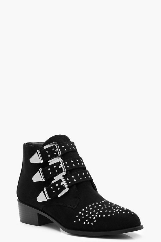 Pin Stud Western Ankle Boots