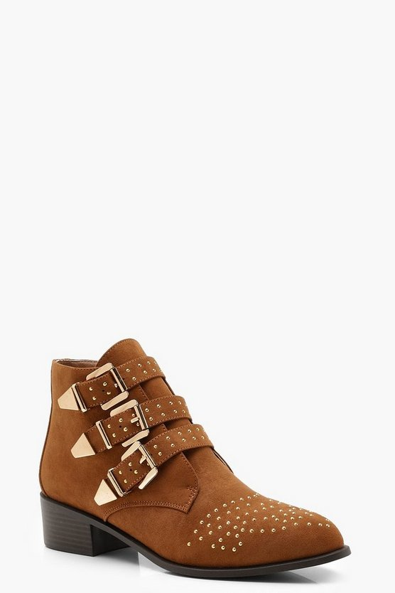 Womens Tan Pin Stud Western Ankle Boots