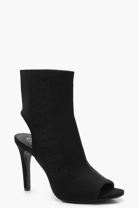 Black Peeptoe Knitted Sock Boots