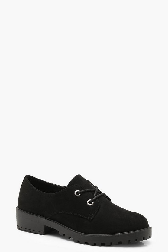 Black Chunky Lace Up Brogues