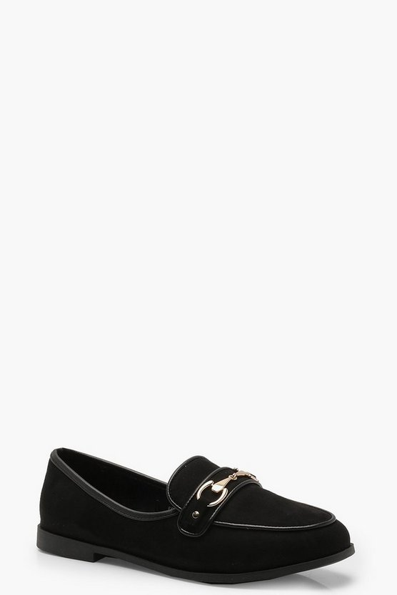 Womens Black Metal Trim Loafers