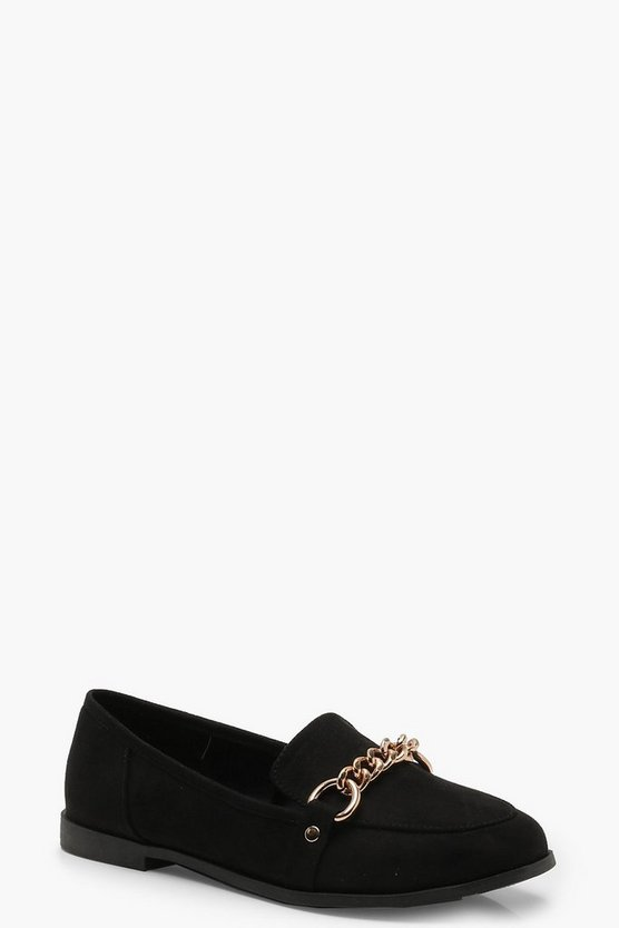 Womens Black Chain Trim Loafers