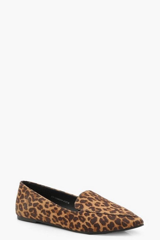 Womens Leopard Leopard Pointed Slipper Ballets