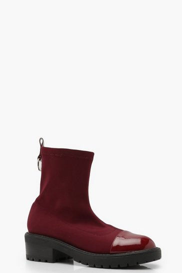 Womens Burgundy Cleated Chunky Sock Boots