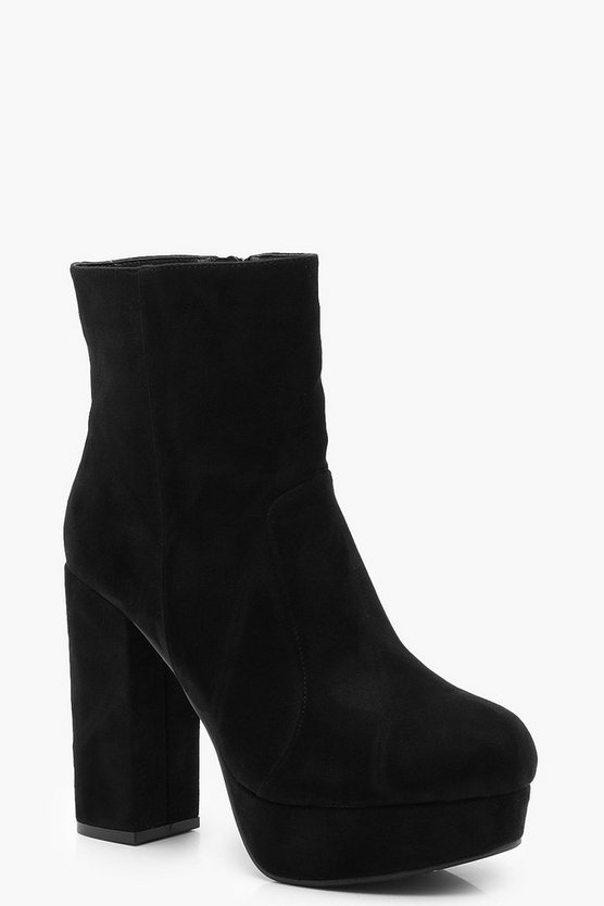 Womens Black Platform Shoe Boots