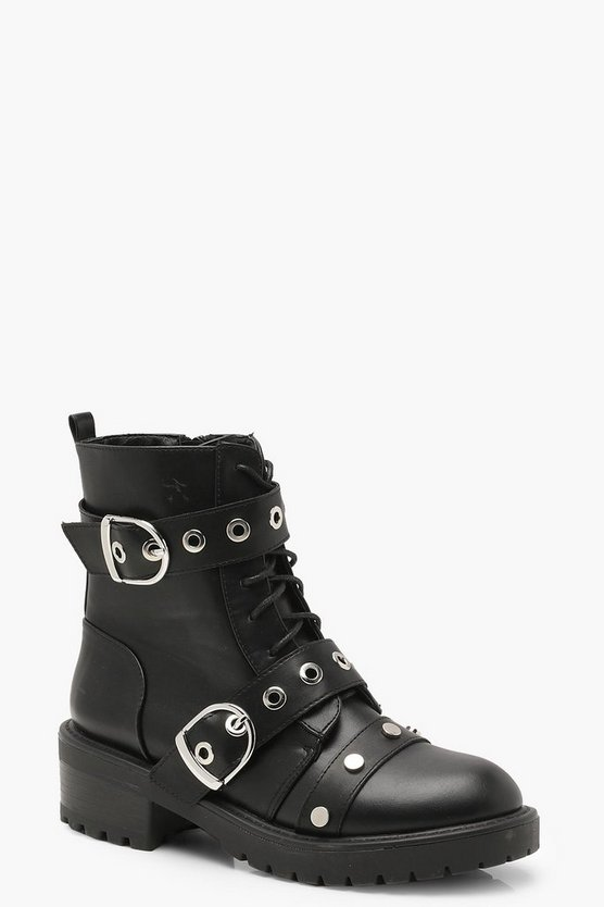 Womens Black Eyelet & Stud Strap Hiker Boots