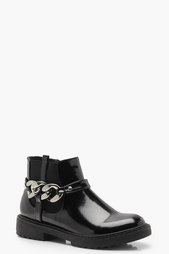 Chain Detail Chunky Chelsea Boots