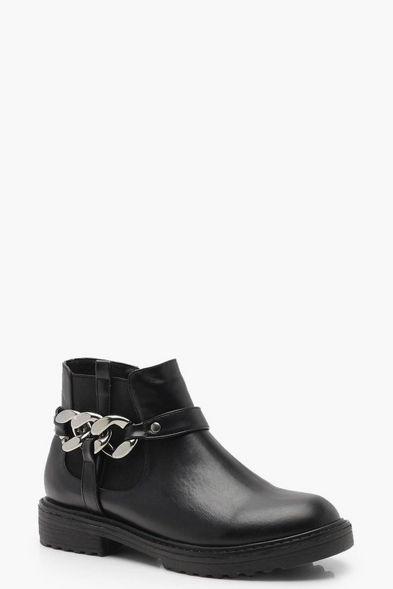 Chunky Chain Detail Chelsea Boots