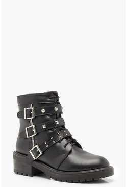 Womens Black Stud Strap Cleated Hiker Boots