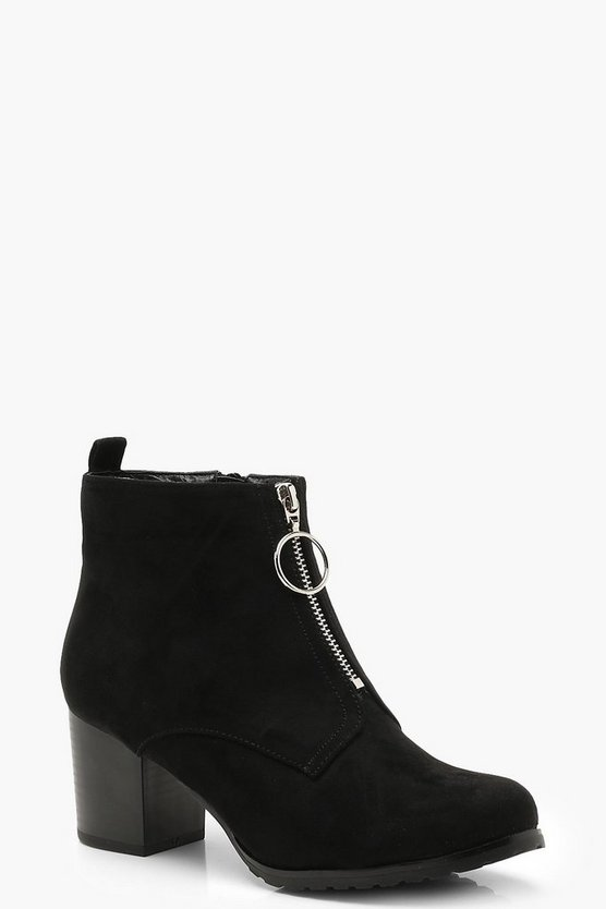 Womens Black Zip Front Chunky Shoe Boots