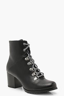 Block Heel Lace Up Hiker Boots