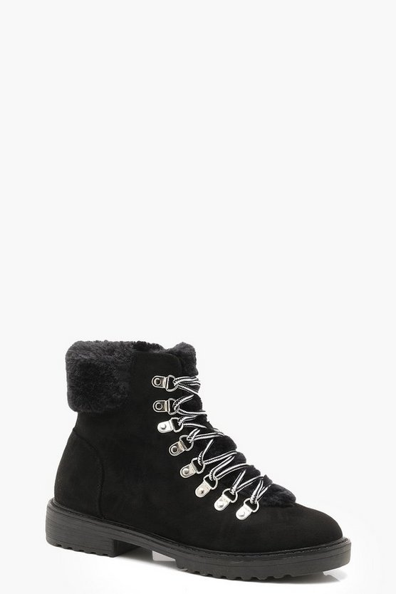 Womens Black Faux Fur Lined Hiker Boots