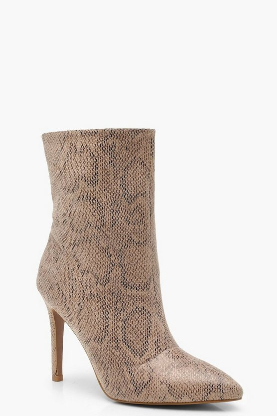 Snake Effect Pointed Sock Boots