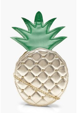 Womens Gold Erin Metallic Pineapple Round Bag