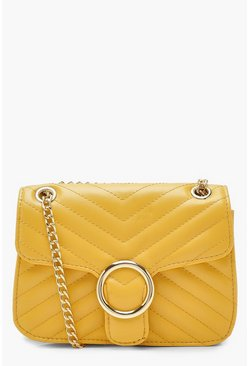 Womens Yellow Quilt & Ring Detail Cross Body