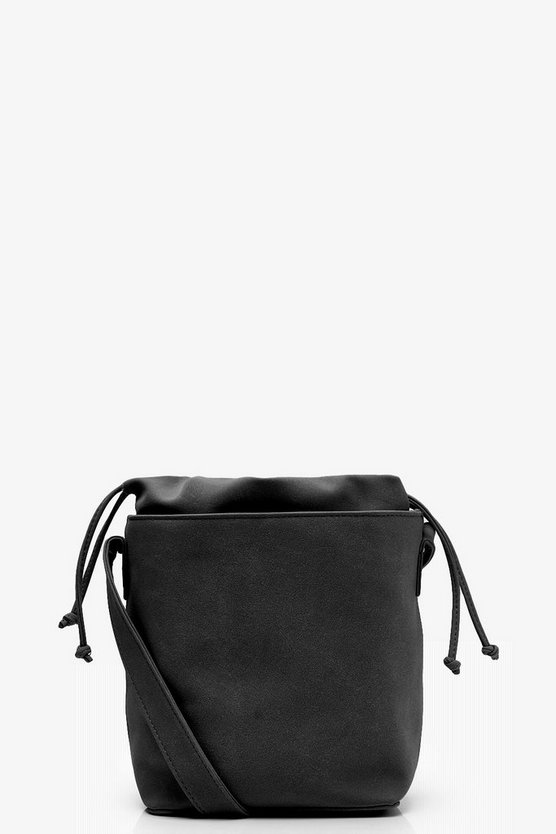 Womens Black Jo Suedette Structured Round Base Cross Body
