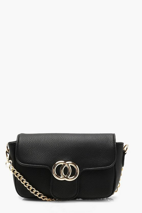 Black Double Ring Crosshatch Cross Body
