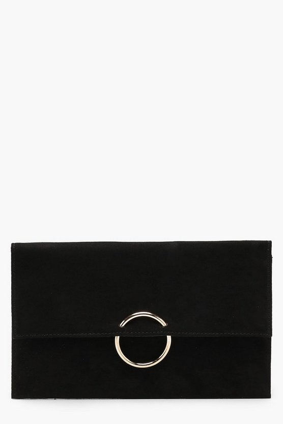 Womens Black Ring Detail Suedette Clutch