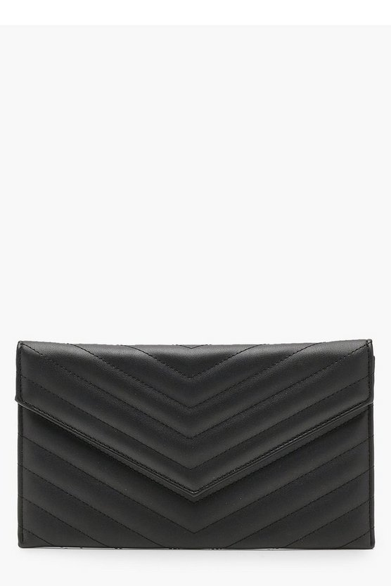 Chevron Quilted Clutch & Chain