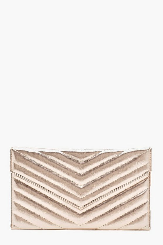 Womens Rose Metallic Chevron Quilted Clutch & Chain