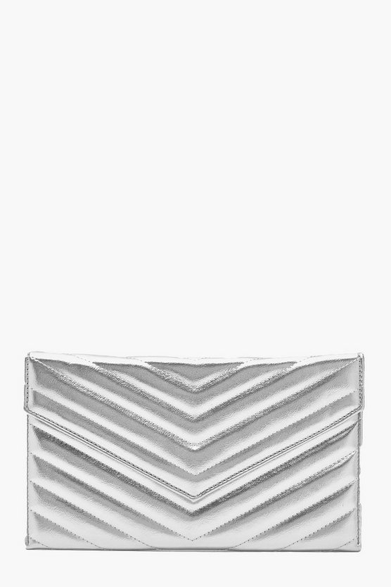 Womens Silver Metallic Chevron Quilted Clutch & Chain