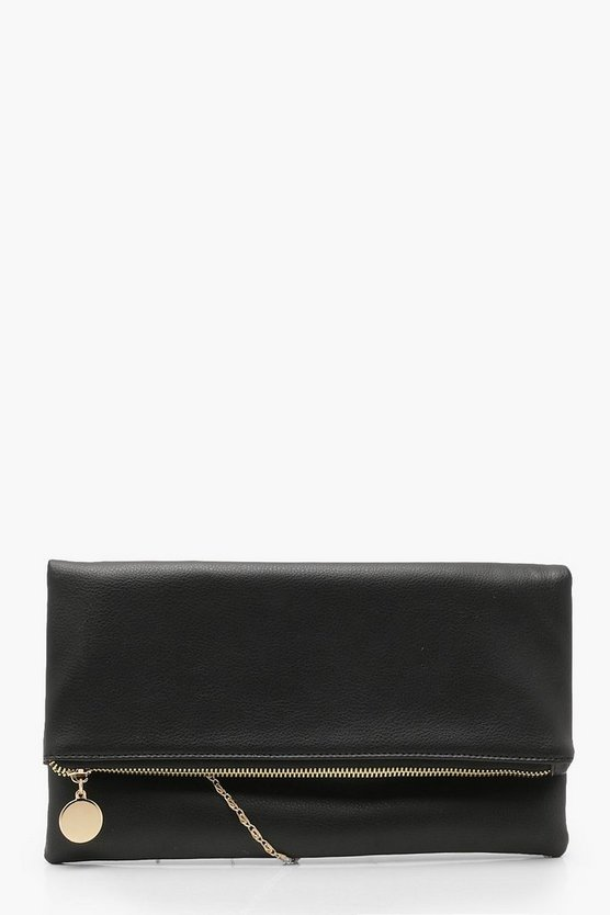 Womens Black Foldover Clutch With Chain